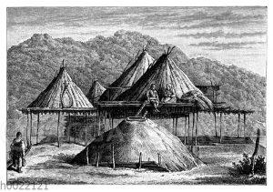 Sommer- und Winterhütten der Kamtschadalen