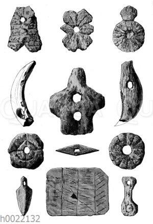 Tönerner und knöcherner Schmuck aus der jüngeren Steinzeit der Fränkischen Zeit