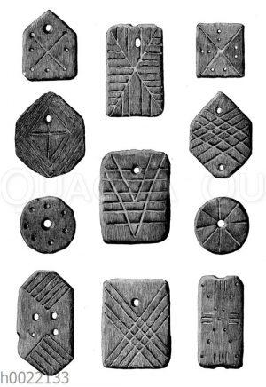 Steinerne und knöcherne Schmuckstücke aus der jüngeren Steinzeit der Fränkischen Schweiz