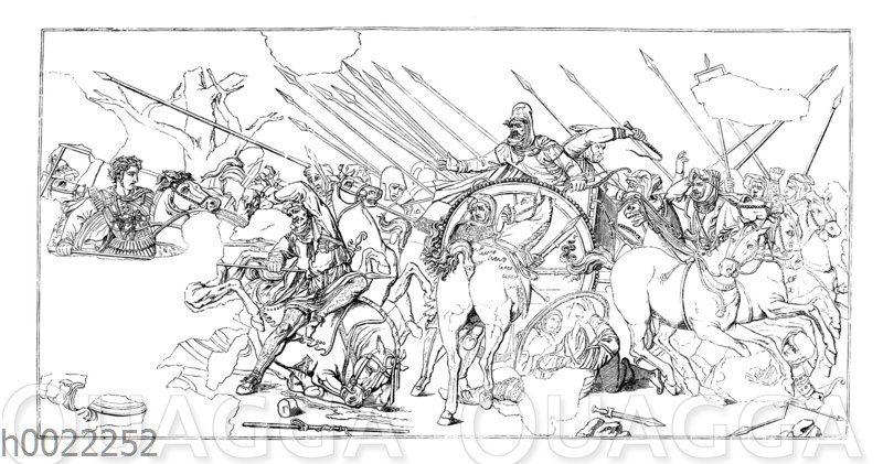 Alexanderschlacht. Nach dem in der Casa del Fauno zu Pompeji aufgefundenen Mosaik