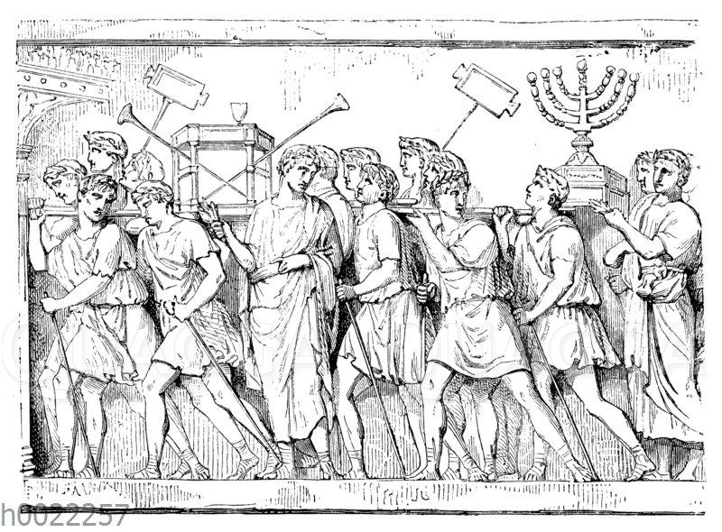 Titusbogen: Relief. Wegführung der heiligen Gefäße aus dem Tempel von Jerusalem