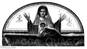 Katakombengemälde: Christin mit ihrem Kind
