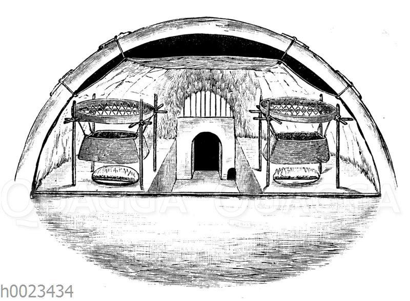 Inneres eines Schneehauses der Eskimo