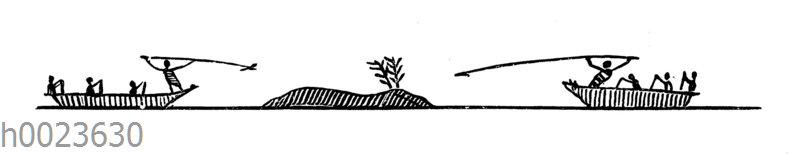 Jagd auf Wale. Zeichnung eines Eskimo