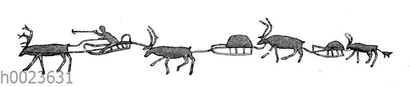 Rentierkarawane. Zeichnung eines Tschuktschen