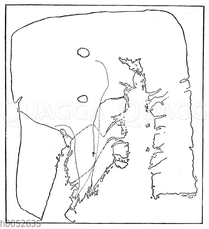 Kartenskizze des Cumberland-Sunds und der Frobisherbai auf Bassinsland. Zeichnung des Nugumio-Eskimo Itu