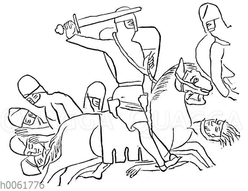 Roland zu Pferde zwischen den fallenden Heiden