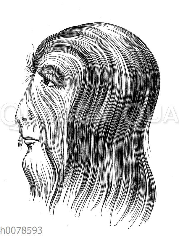 Porträt eines der an Hypertrichose leidenden 'russischen Haarmenschen'