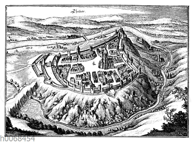 Die Hussitenveste Tabor. Nach einem Kupferstich von M. Merian
