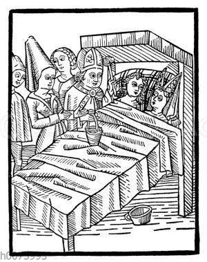 Einsegnung des Ehebetts durch den Bischof