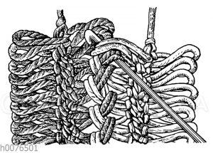 Häkeln: Das Verbinden der Gabelbörtchen ohne Falten