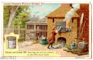 Hänsel und Gretel: Gretel schubst die Hexe in den Ofen