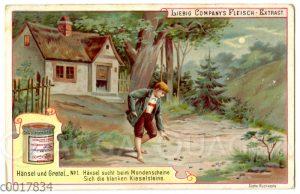 Hänsel und Gretel: Hänsel findet im Mondschein die glänzenden Kieselsteine