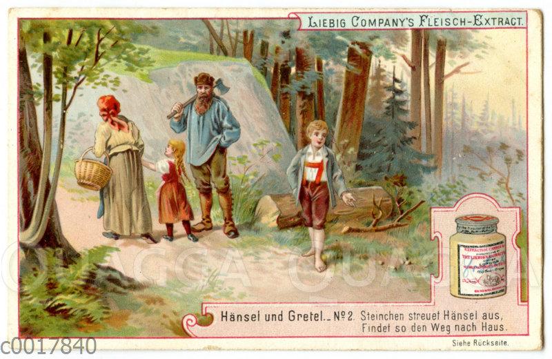 Hänsel und Gretel: Hänsel streut kleine Steinchen aus