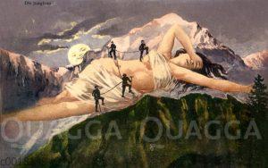 Bergsteiger besteigen die Jungfrau