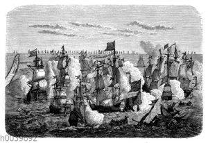 Kampf der lübisch-dänischen Flotte gegen die Schweden zwischen Öland und Gotland. Nach einem zeitgenössischen Kupferstich