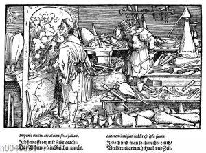 Alchemistisches Laboratorium. Faksimile des Holzschnittes von Hans Burgmair in den 'Bildern zu Schimpf und Ernst'