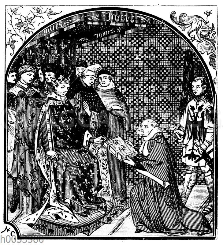 Froissart überreicht dem König von Frankreich seine Chronik