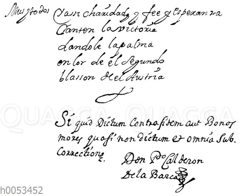 Schlusszeilen einer Calderon-Handschrift in der Münchener Staatsbibliothek