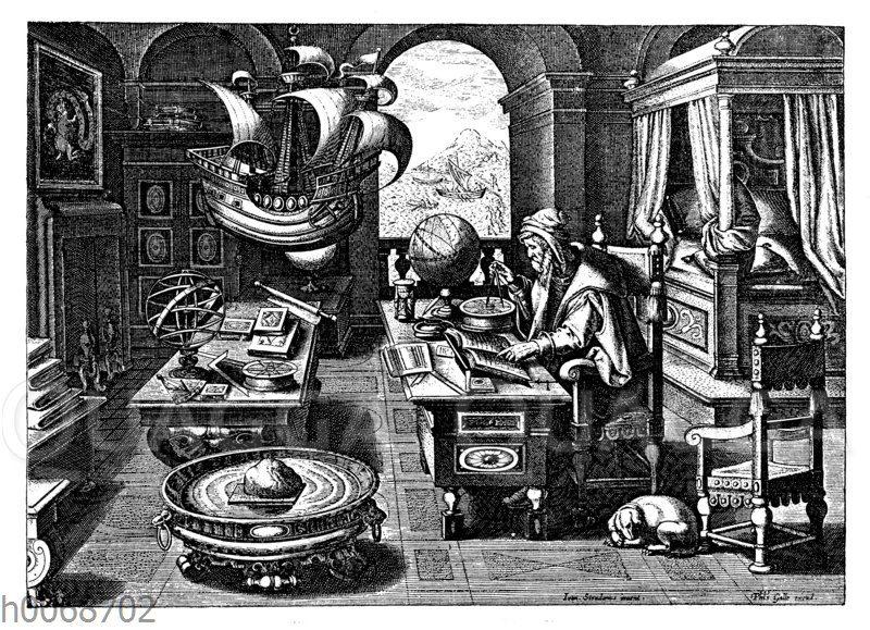 Astronom und Mathematiker bei seinen Berechnungen