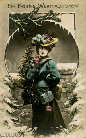 Weihnachtskarte: Dame mit kleinem Weihnachtsbaum