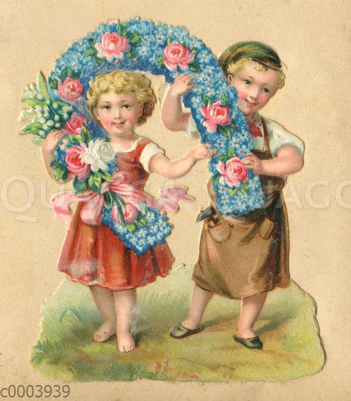 Glanzbild: Junge und Mädchen mit Hufeisen aus Vergissmeinnicht und Rosen