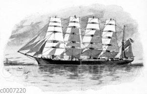 Hamburger fünfmastiges Stahlsegelschiff