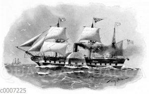 Erstes deutsch-amerikanisches Postdampfschiff .Washington* (1847).