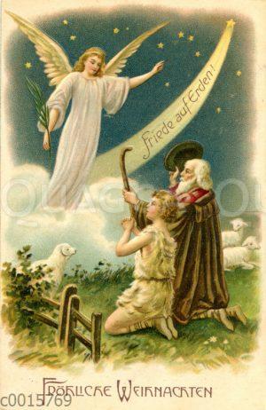 Den Hirten in Bethlehem erscheint der Engel und Verkündet Christi Geburt
