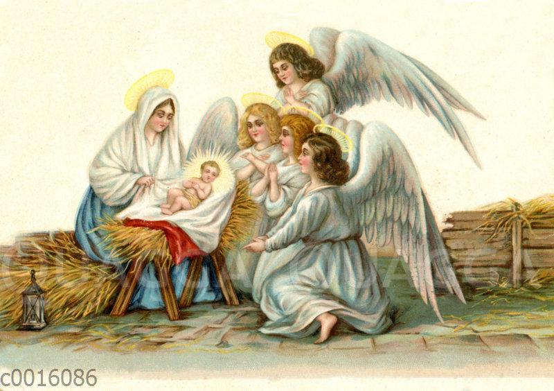 Engel an der Krippe bei Maria und Jesus