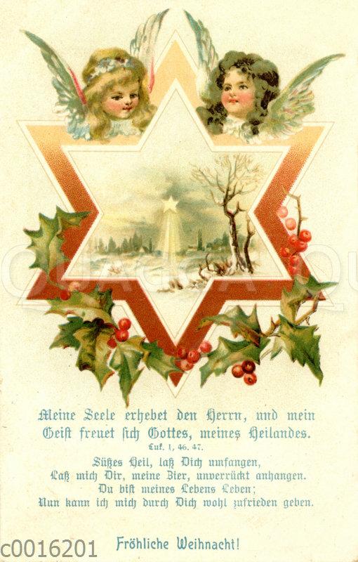 Weihnachtsstern mit Engelsgesichtern und Winterlandschaft
