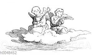 Zwei Engel auf einer Wolke