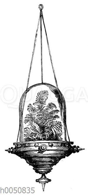 Blumenampel mit Glasglocke und Farn