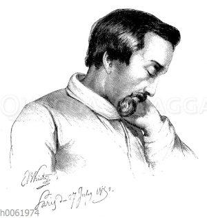Heinrich Heine in seiner Krankheit. Gezeichnet von Kietz