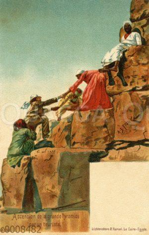 Besteigung der großen Pyramide durch einen Touristen