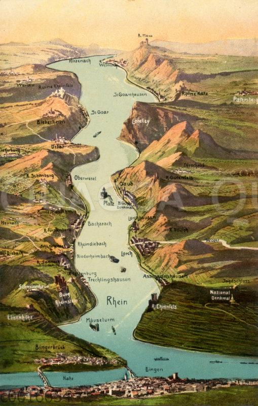 Aufsicht auf den Rhein von Hirzenach bis Bingen