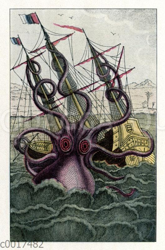 Riesenkrake überfällt ein Segelschiff