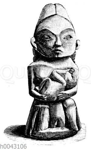 Holzgeschnitzte Figur der Quacutl-Indianer