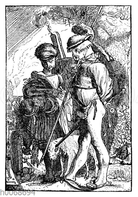 Marodeur und seine Frau. Holzstich aus der Zeit des Dreißigjährigen Krieges