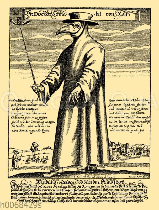 Bekleidung eines Pestarztes im 17. Jahrhundert