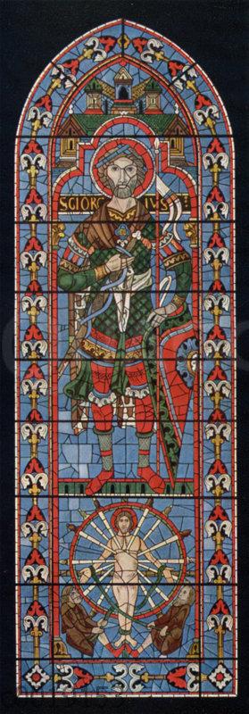 Der heilige Georg. Glasgemälde in der Kathedrale zu Chartres. Erste Hälfte des 13. Jahrhunderts.