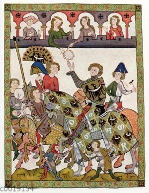 Herzog Heinrich von Breslau. Miniatur aus der Manessischen Liederhandschrift