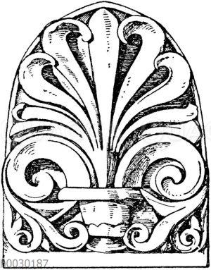 Stirnziegel: Römischer Stirnziegel vom Tempel des Jupiter Stator in Rom.
