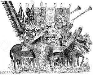 Arabisches Heer: Standartenträger und Musiker. Miniaturen in einer arabischen Handschrift des Mittelalters