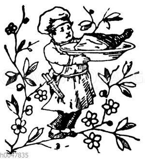 Vignette: Koch serviert einen ganzen Schinken
