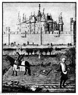 Louvre in Paris. Miniatur aus dem Livres d'heures des Herzogs von Berry