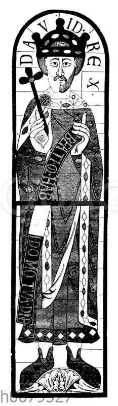 König David. Glasbild aus dem Augsburger Dom