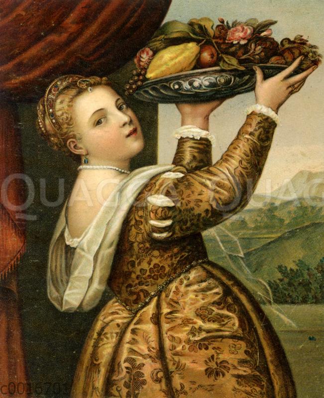 Früchteträgerin (Mädchen mit Fruchtschale) von Tizian