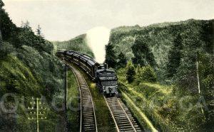 Lokomotive und Wagons auf der 'Schiefen Ebene' zwischen Marktschorgast und Neuermarkt (Oberfranken)