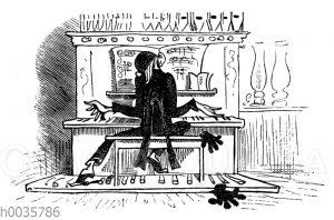 Lehrer Lämpel an der Orgel